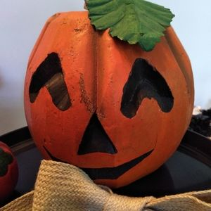 Vintage carved coconut pumpkin with pumpkin picks